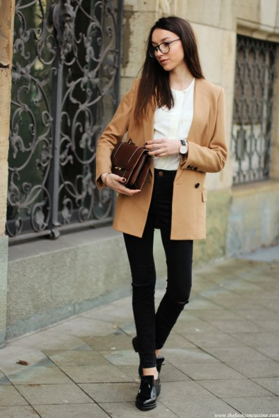 camel double breasted blazer with white blouse and black skinny jeans