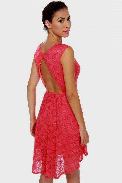 carol backless mini semi sheer fit and flare dress