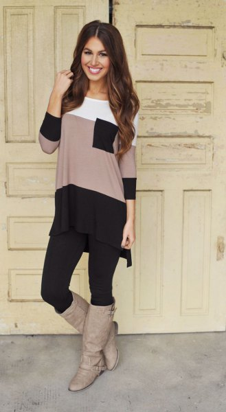 color block long tee with black leggings and grey leather boots