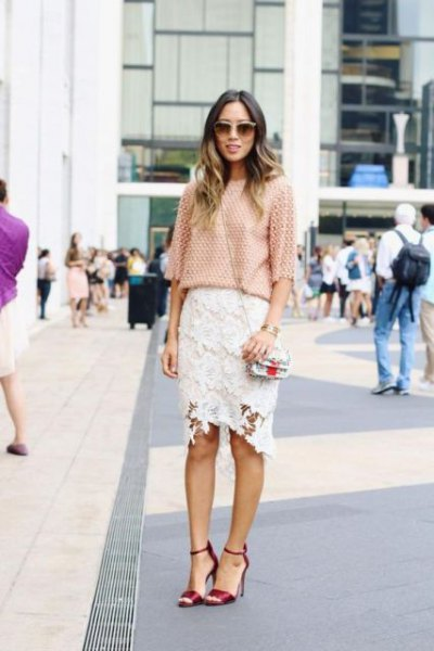 crochet half sleeve blouse with white midi lace skirt