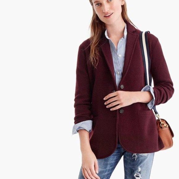 dark brown sweater blazer with blue and white striped button up shirt