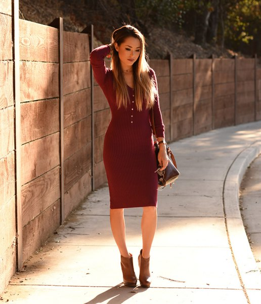 dark red form fitting sweater dress with grey ankle boots