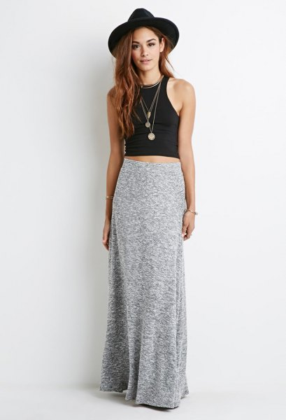 floor length dress with black sleeveless crop top