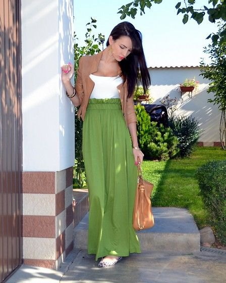 green blazer with white top and high waited maxi skirt