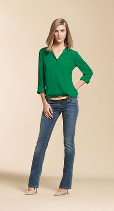 green button up chiffon blouse with greyish blue slightly flared jeans