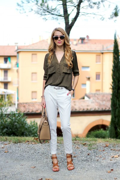 green shirt with white chinos and brown sandals