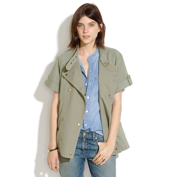 green short sleeve casual military jacket with chambray shirt