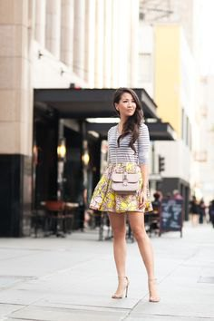 grey and white striped top with yellow floral printed taffeta skater skirt