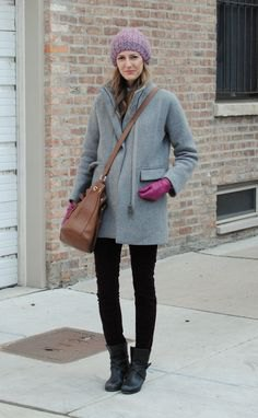grey coat with black skinny jeans and leather ankle boots