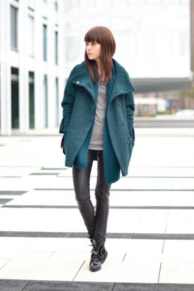 grey cocoon coat with blue longline chambray shirt and leather leggings