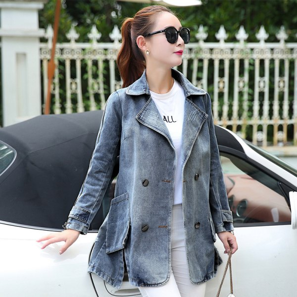 grey flared denim jacket with pale pink skinny jeans