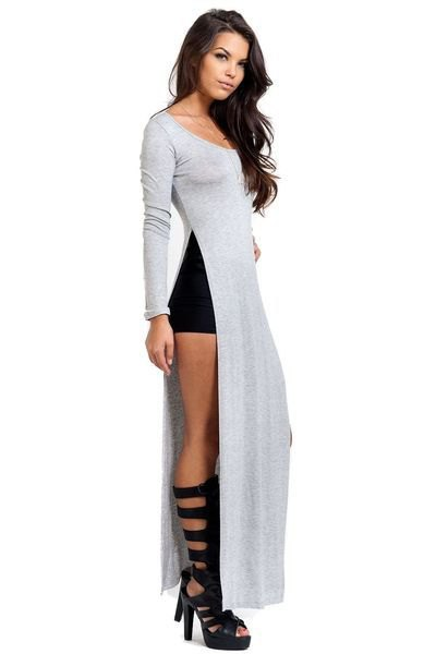 grey maxi side slit tee with black strappy cutout knee high boots