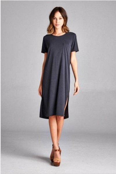grey side slit shirt dress with platform heeled sandals