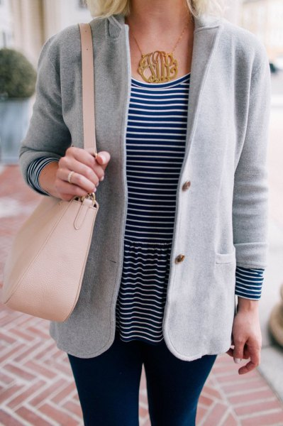grey sweater blazer with black and white striped tee