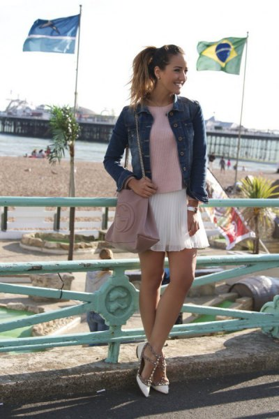 grey sweater with denim jacket and white mini chiffon pleated skirt