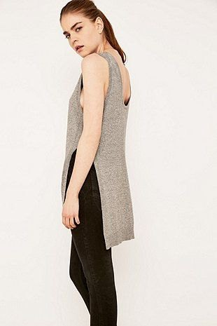 grey tank top with slit and black jeans