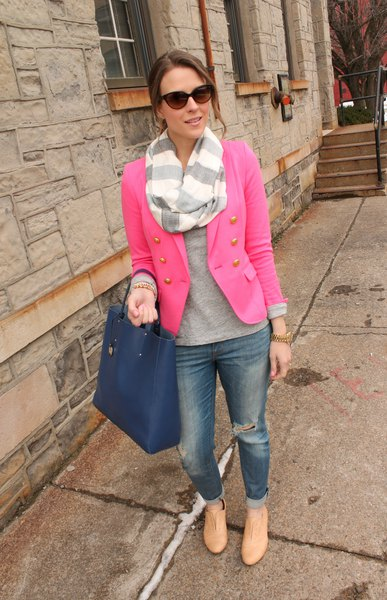 hot pink blazer with grey sweater and striped scarf
