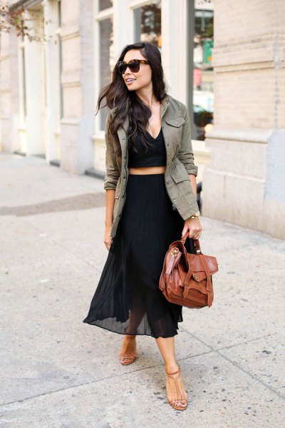khaki blazer with cropped deep v neck top and high rise chiffon maxi skirt
