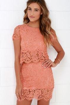 lace two piece semi sheer mini bodycon dress