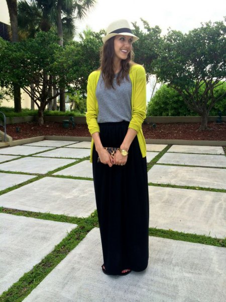 lemon yellow cardigan with black relaxed fit maxi travel skirt