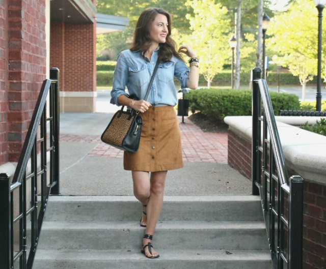light blue chambray button up shirt with mini skirt and sandals