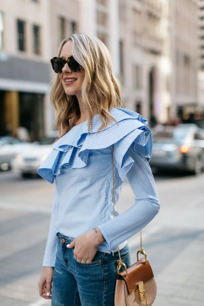 light blue long sleeve ruffle blouse