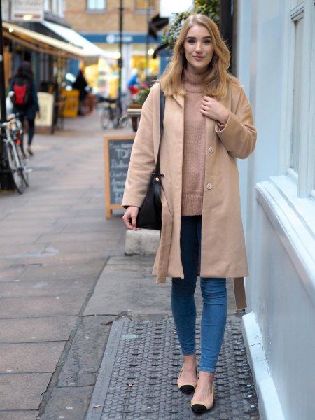 light camel longline jacket with turtleneck sweater and skinny jeans