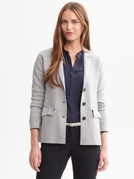 light grey sweater blazer with dark blue collarless button up shirt