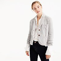 light grey sweater blazer with white shirt and black skinny jeans