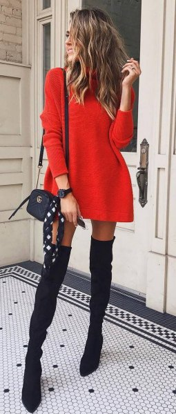 mini sweater dress with black thigh high suede boots
