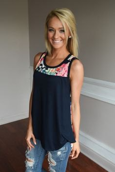 navy blue color block flowy tank top with ripped jeans