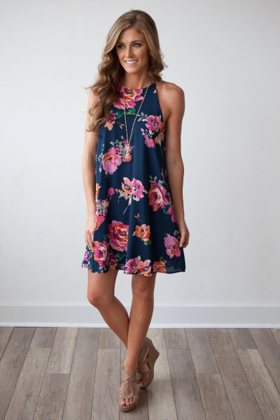 navy floral printed mini shift dress