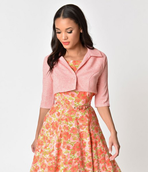 pale pink cropped short sleeve jacket with blush floral printed midi flared dress