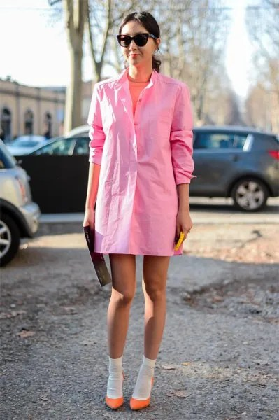 pale pink long sleeve mini shirt dress with neon ballet flats