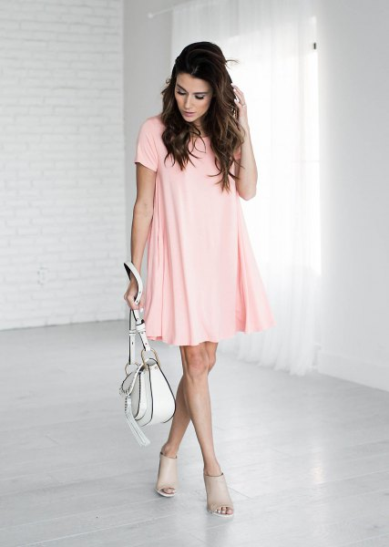 pale pink short sleeve mini swing shirt dress with open toe short boots