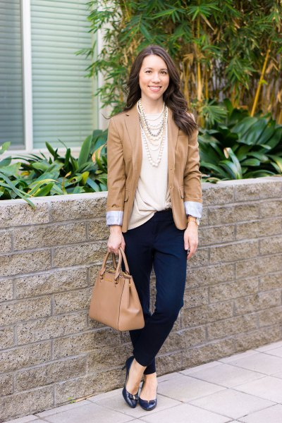pale pink twist front top with blush blazer and chinos