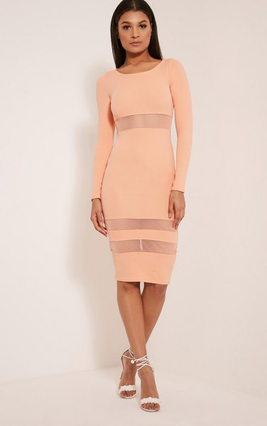 peach bodycon semi sheer striped midi long dress