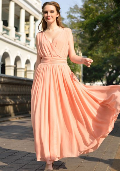 peach deep v neck gathered waist long flowy dress