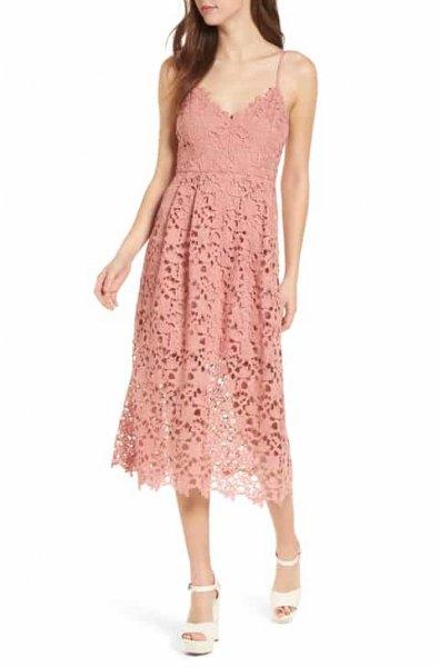 peach deep v neck midi lace sheath dress