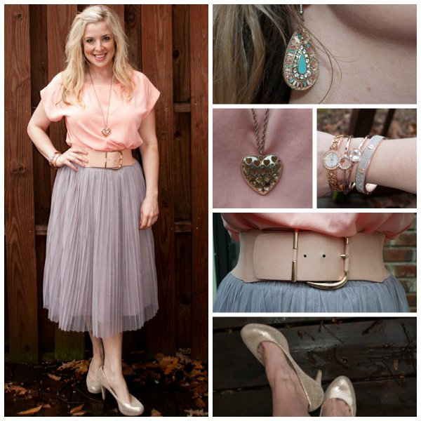 peach short sleeve shirt with light pink tulle midi skirt