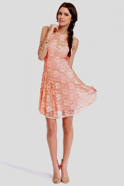 peach sleeveless lace fit and flare mini dress with blush pink heels