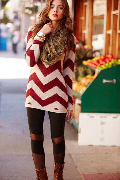 red and white zig zag patterned sweater dress with leggings