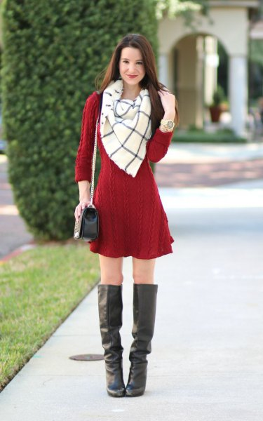 red cable knit mini sweater dress with white and grey wool scarf