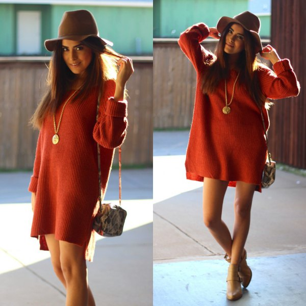 red chunky sweater dress with grey floppy hat