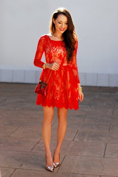 red lace long sleeve fit and flare mini dress