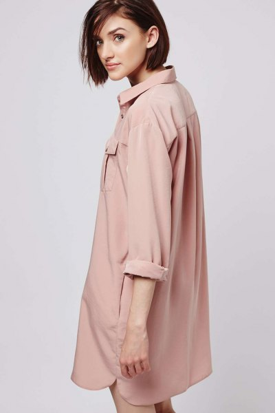 rolled sleeve oversized pink button up shirt dress