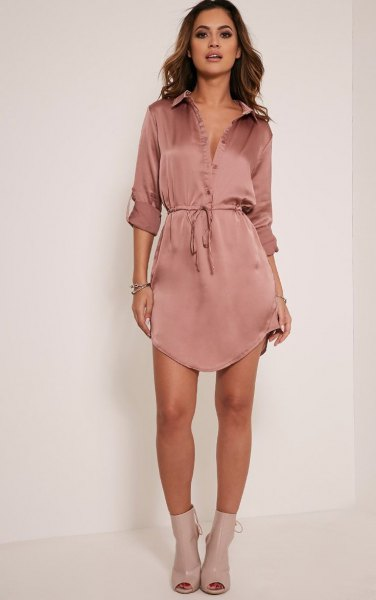 rose gold silk mini belted shirt dress