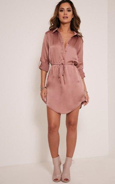 rose gold silk mini belted shirt dress