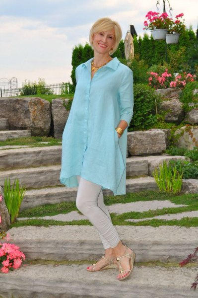 sky blue button up extra long tunic shirt with light grey skinny jeans