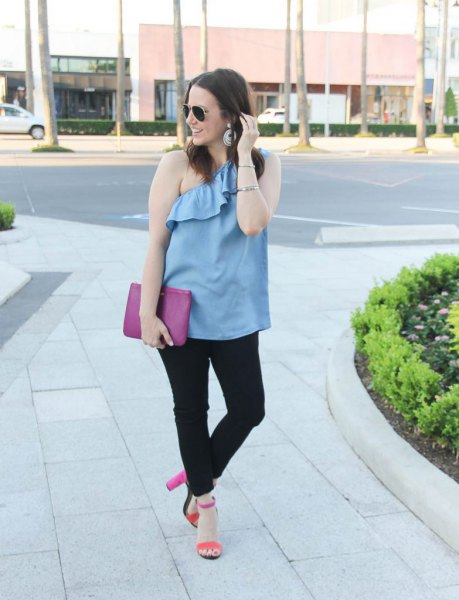 sky blue ruffle one shoulder top with black jeans